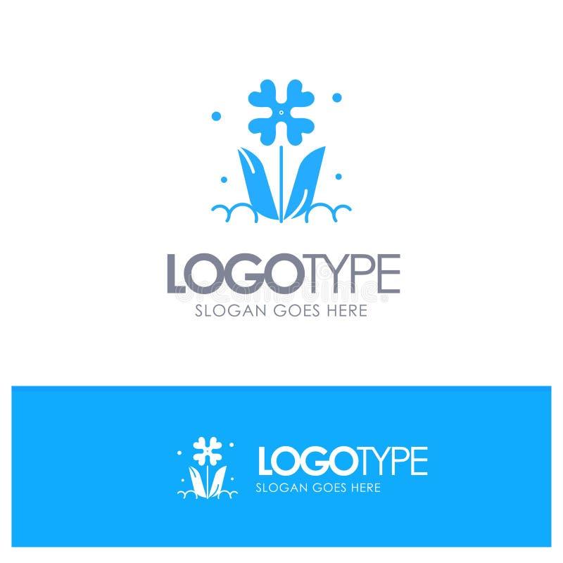 Flora, Bloemen, Bloem, Aard, Rose Blue Solid Logo met plaats voor tagline vector illustratie
