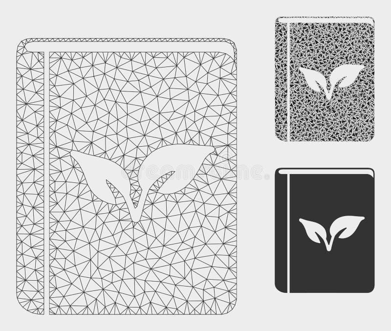 Flora Book Vector Mesh Carcass-Modell-und -dreieck-Mosaik-Ikone vektor abbildung