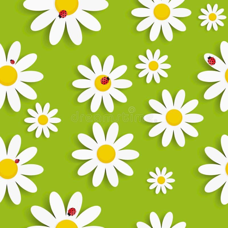 Flora Daisy Seamless Pattern Design Vector royalty free illustration