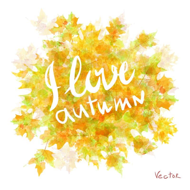 Flora de la hoja de arce de las hojas de otoño de la acuarela del vector ilustración del vector