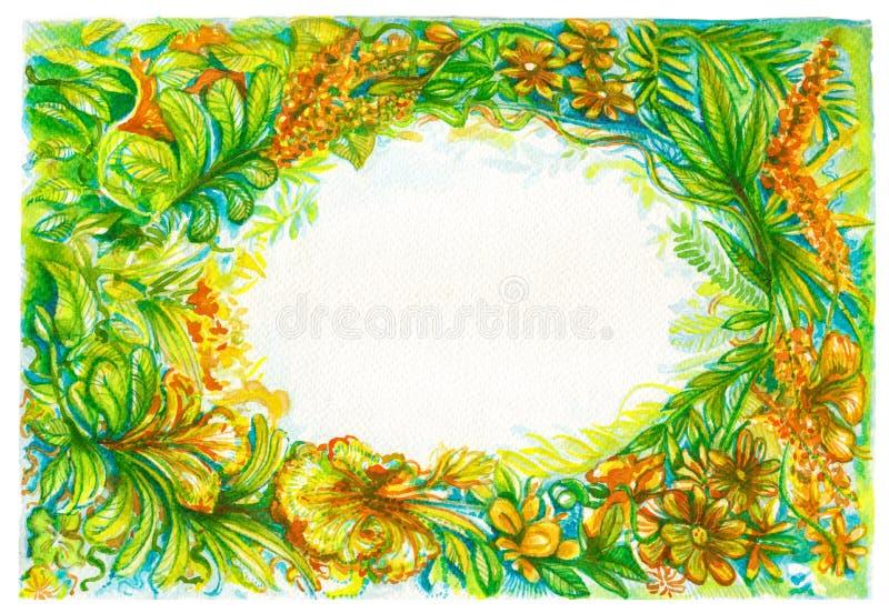 Flora del marco del fondo o selva tropical del color de agua agradable de la naturaleza stock de ilustración