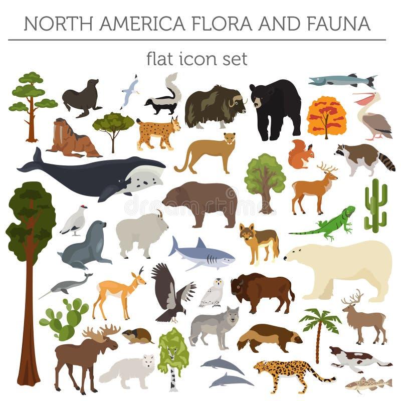 Flora di Nord America ed elementi piani di fauna Animali, uccelli e royalty illustrazione gratis