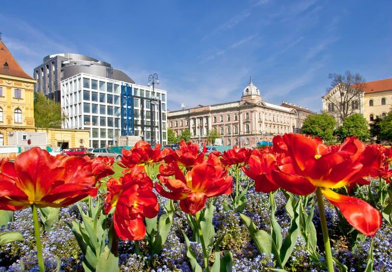 Flora en de architectuur van Zagreb de kleurrijke royalty-vrije stock foto's