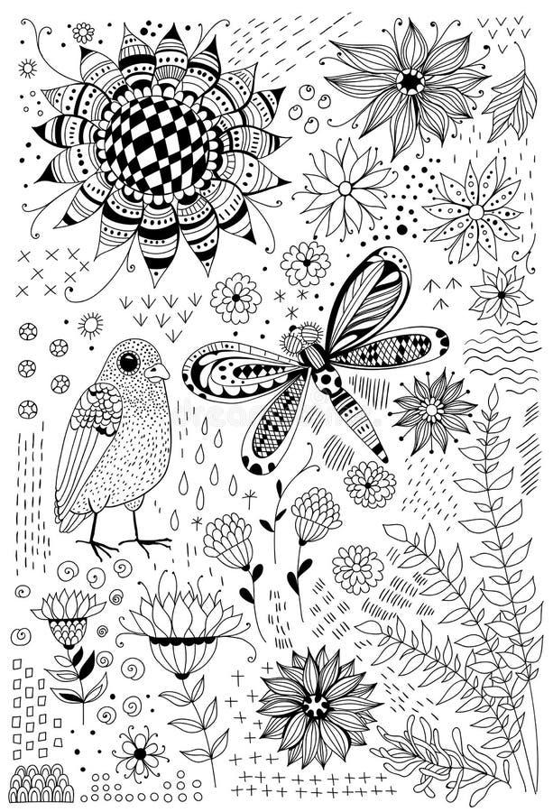 Flora en faunakrabbels stock illustratie