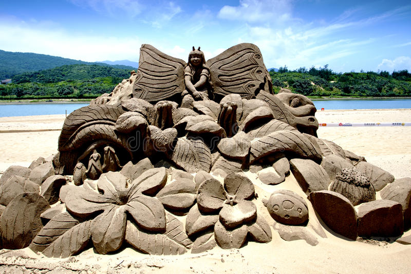 Flora fairy maiden sand sculpture royalty free stock photos