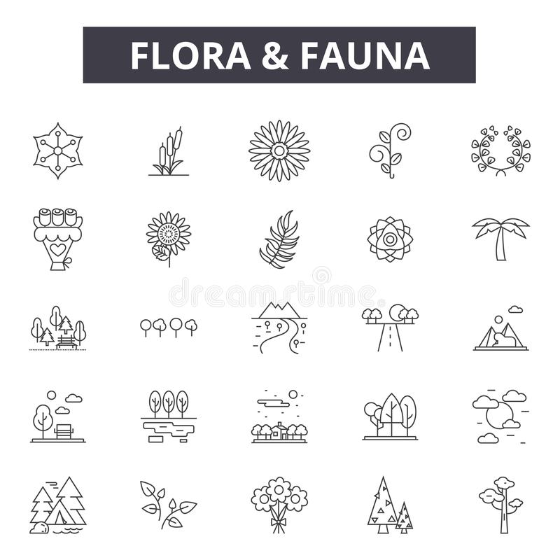 Flora and fauna line icons, signs set, vector. Flora and fauna outline concept, illustration: fauna,flora,animal,nature. Flora and fauna line icons, signs set vector illustration