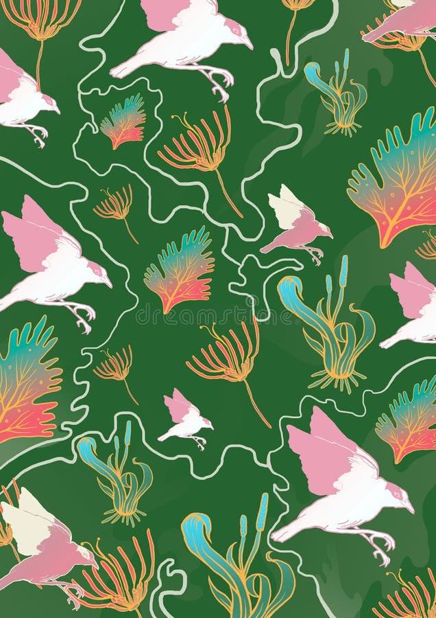 Flora fauna pattern. Pattern of flora and fauna stock illustration