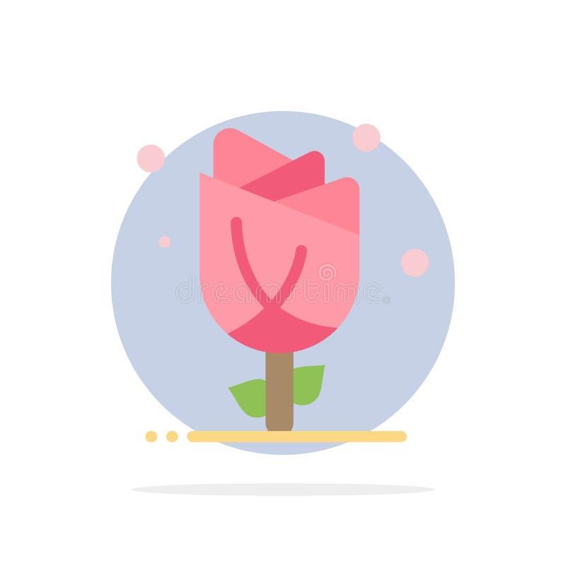 Flora, floral, flor, naturaleza, icono del color de Rose Abstract Circle Background Flat ilustración del vector