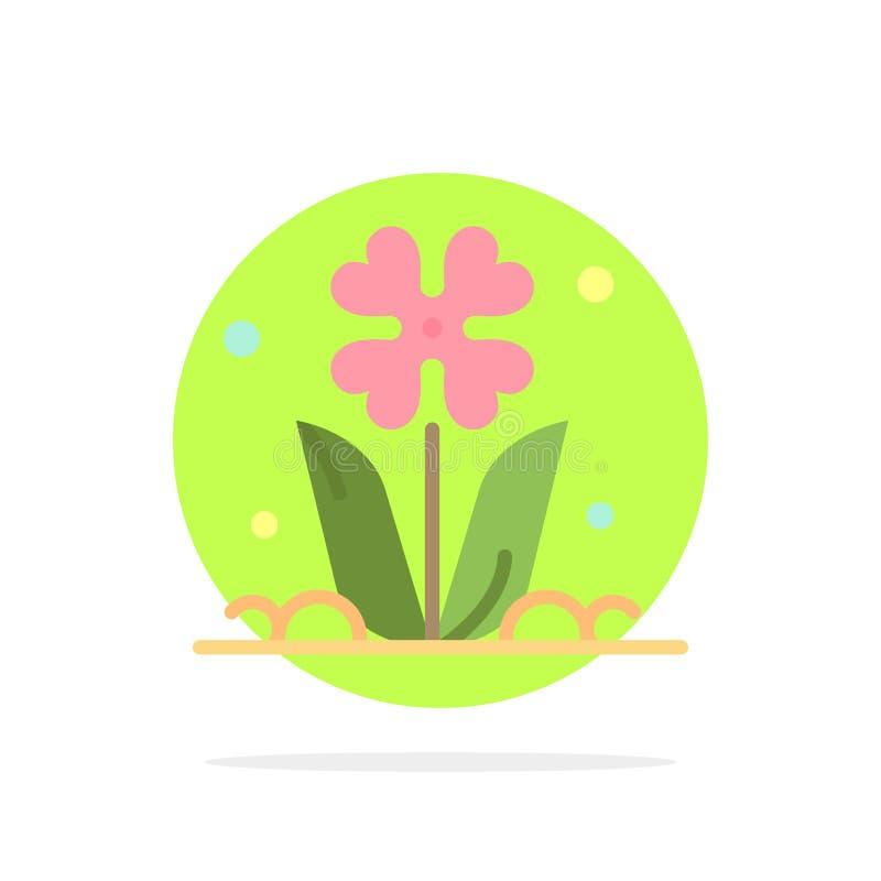 Flora, floral, flor, naturaleza, icono del color de Rose Abstract Circle Background Flat stock de ilustración