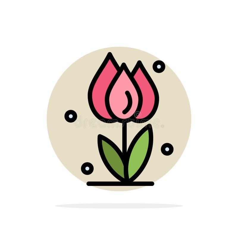 Flora, floral, flor, natureza, ícone da cor de Rose Abstract Circle Background Flat ilustração stock