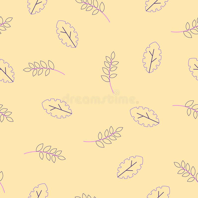 Flora Seamless pattern of Modern flat fantasy leaves floral herbarium,plants,branches - organic vector set on yellow vector illustration