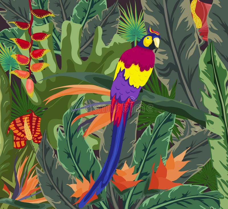 Flora tropical dos cartazes e fauna, tropicais, planta, fundo do papagaio ilustração stock