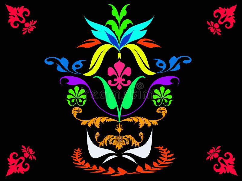 Flora variopinta astratta isolata su fondo nero illustrazione di stock