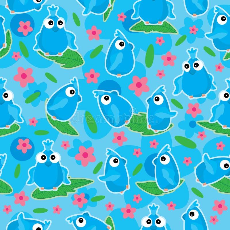 Floración azul Pattern_eps inconsútil de la flor de los pájaros libre illustration