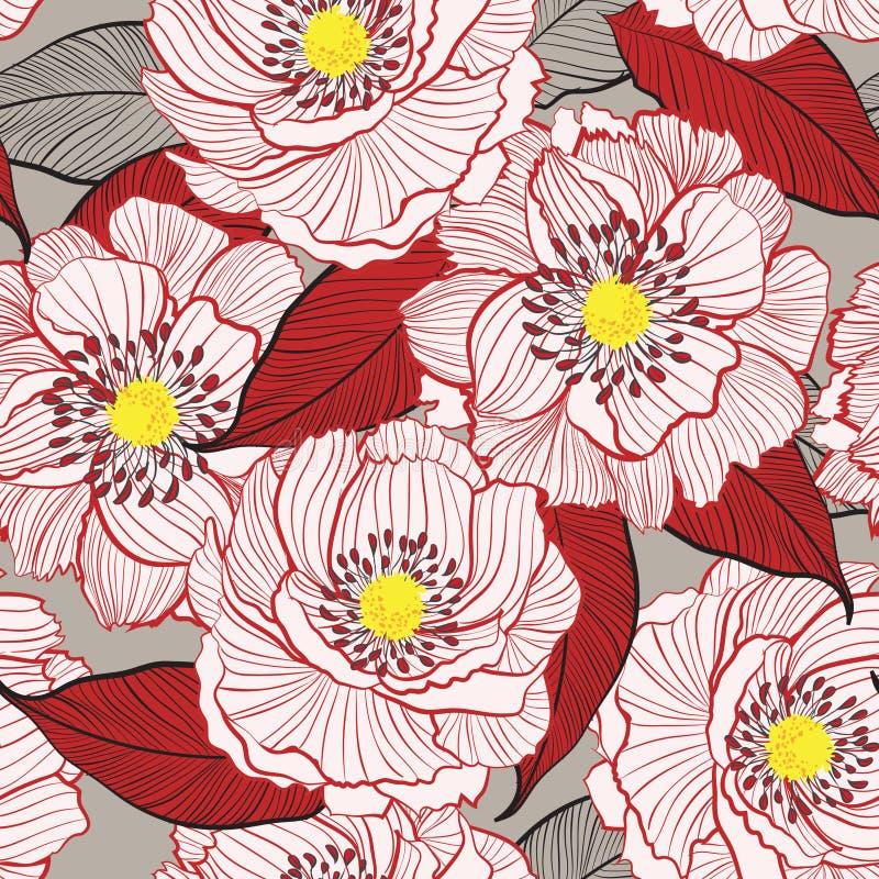 Floraison botanique dans une ligne Se floral blanc de dessin de main de jardin illustration stock