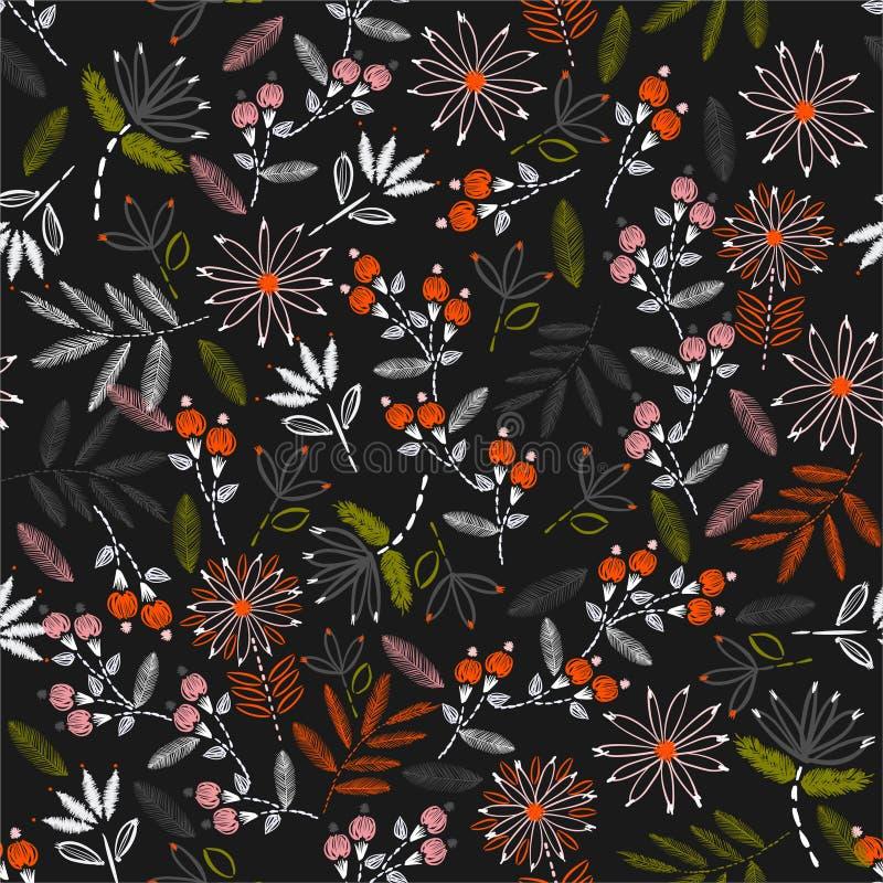 Floraison colorée du modèle sans couture de broderie sensible floral dans la conception piquante d'humeur de main de vecteur pour illustration libre de droits