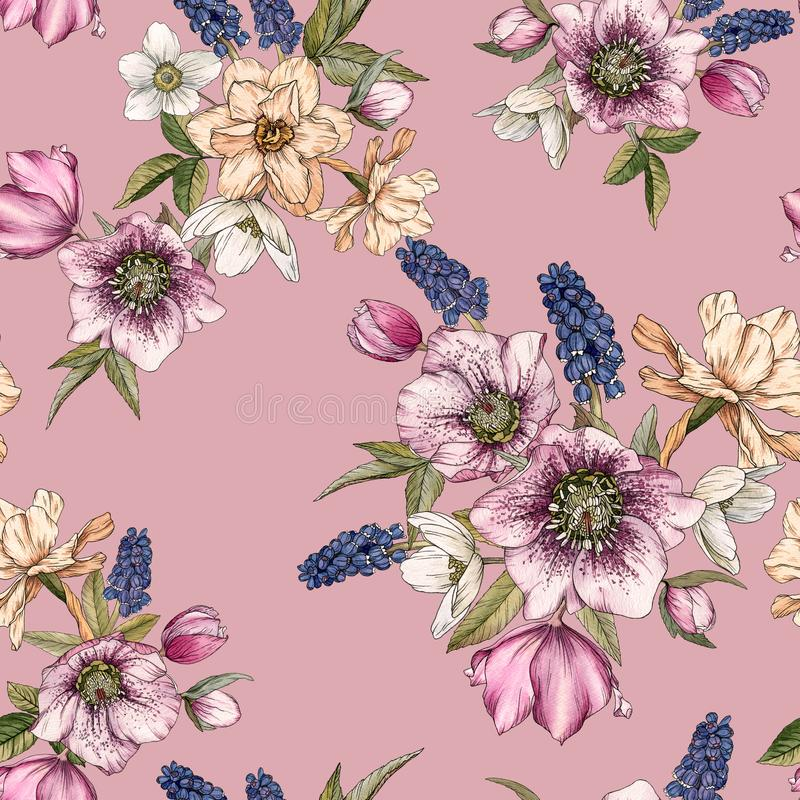 Floral άνευ ραφής σχέδιο με τους ναρκίσσους watercolor, muscari και hellebore απεικόνιση αποθεμάτων