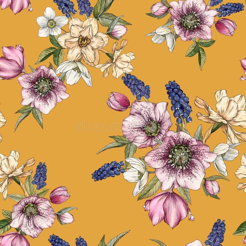 Floral άνευ ραφής σχέδιο με τους ναρκίσσους watercolor, muscari και hellebore διανυσματική απεικόνιση