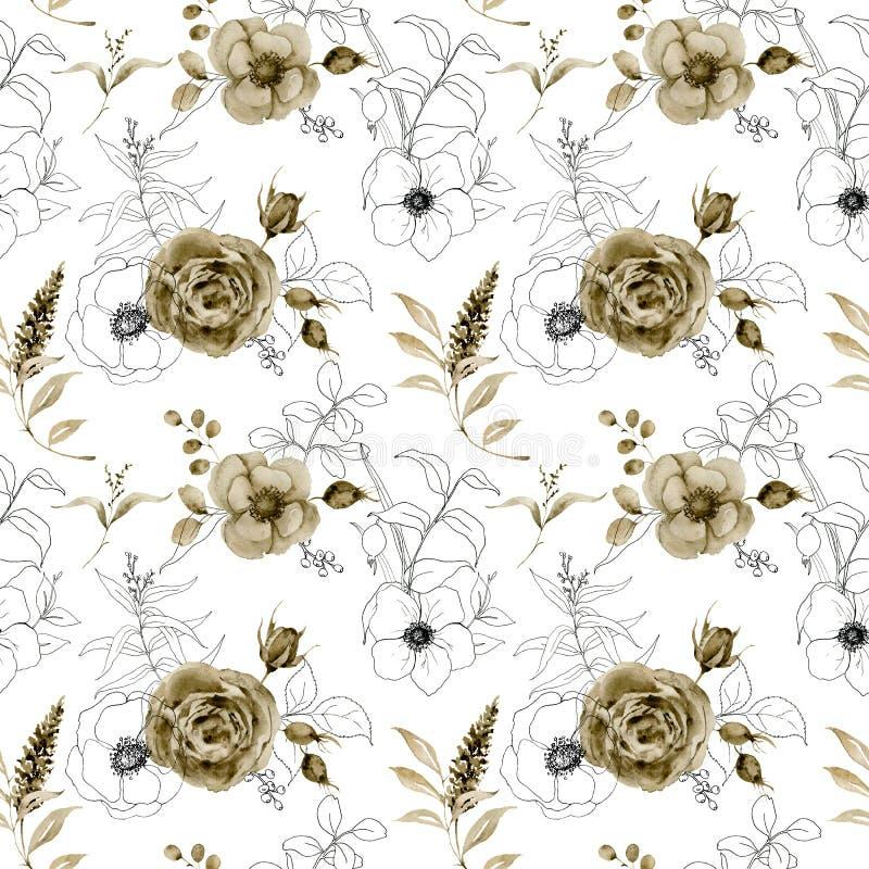 Floral άνευ ραφής σχέδιο Watercolor και σκίτσων Το χέρι χρωμάτισε τα μονοχρωματικά και λουλούδια σκίτσων, μούρα με τον ευκάλυπτο απεικόνιση αποθεμάτων