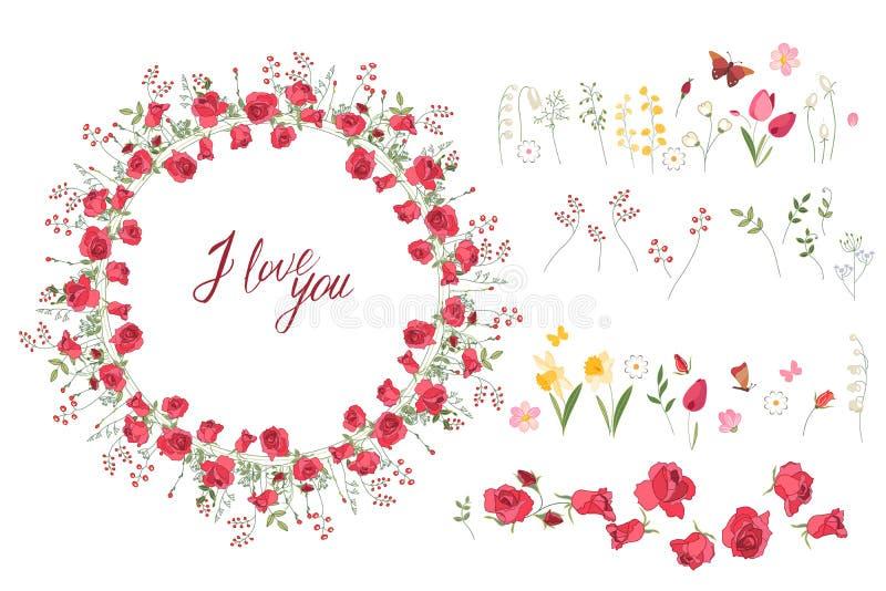 Floral θερινά στοιχεία με τις χαριτωμένες δέσμες των τουλιπών, τριαντάφυλλα απεικόνιση αποθεμάτων