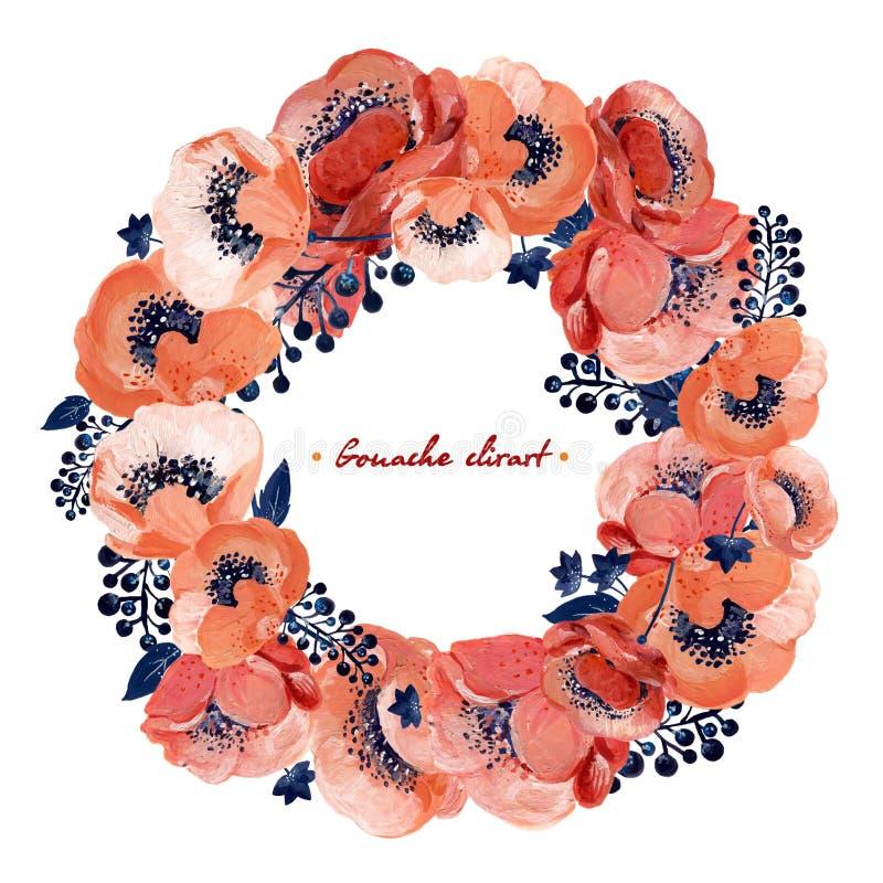 Floral στεφάνι γκουας με το κοράλλι anemones Hand-drawn clipart για την εργασία τέχνης και weddind το σχέδιο ελεύθερη απεικόνιση δικαιώματος