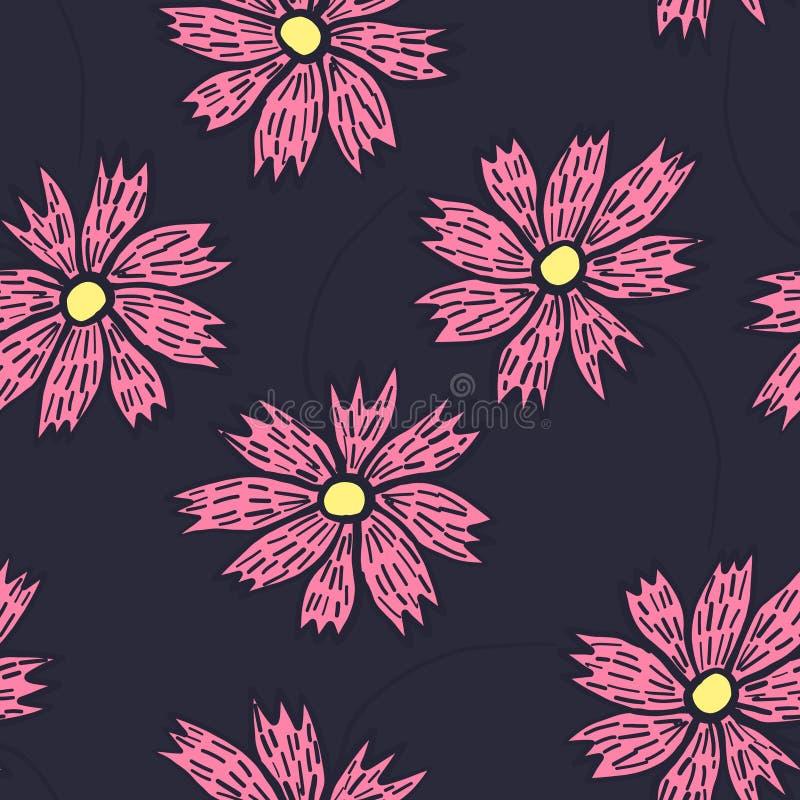 Floral σχέδιο αντίθεσης με τα ρόδινα λουλούδια doodle απεικόνιση αποθεμάτων