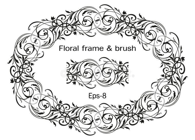 Floral περίκομψο στεφάνι που απομονώνεται στο άσπρες υπόβαθρο και τη βούρτσα Ωοειδές στοιχείο Horisontal Εκλεκτής ποιότητας πλαίσ ελεύθερη απεικόνιση δικαιώματος