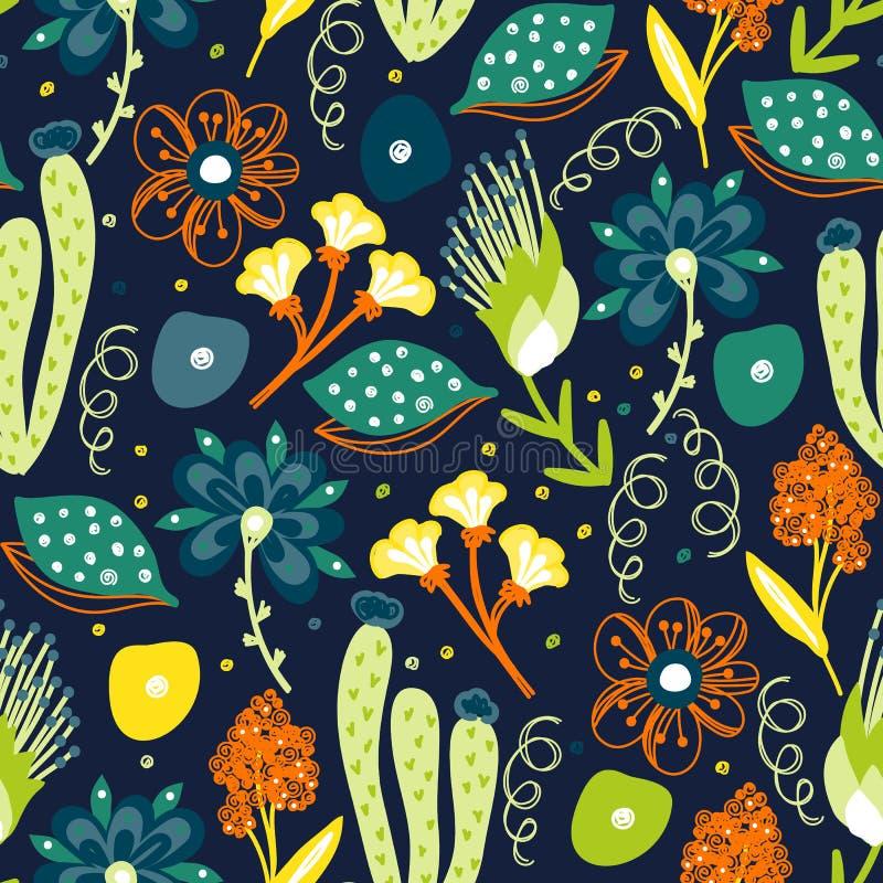 floral πρότυπο άνευ ραφής Συρμένα χέρι δημιουργικά λουλούδια Ζωηρόχρωμο καλλιτεχνικό υπόβαθρο με το άνθος Αφηρημένο χορτάρι ελεύθερη απεικόνιση δικαιώματος