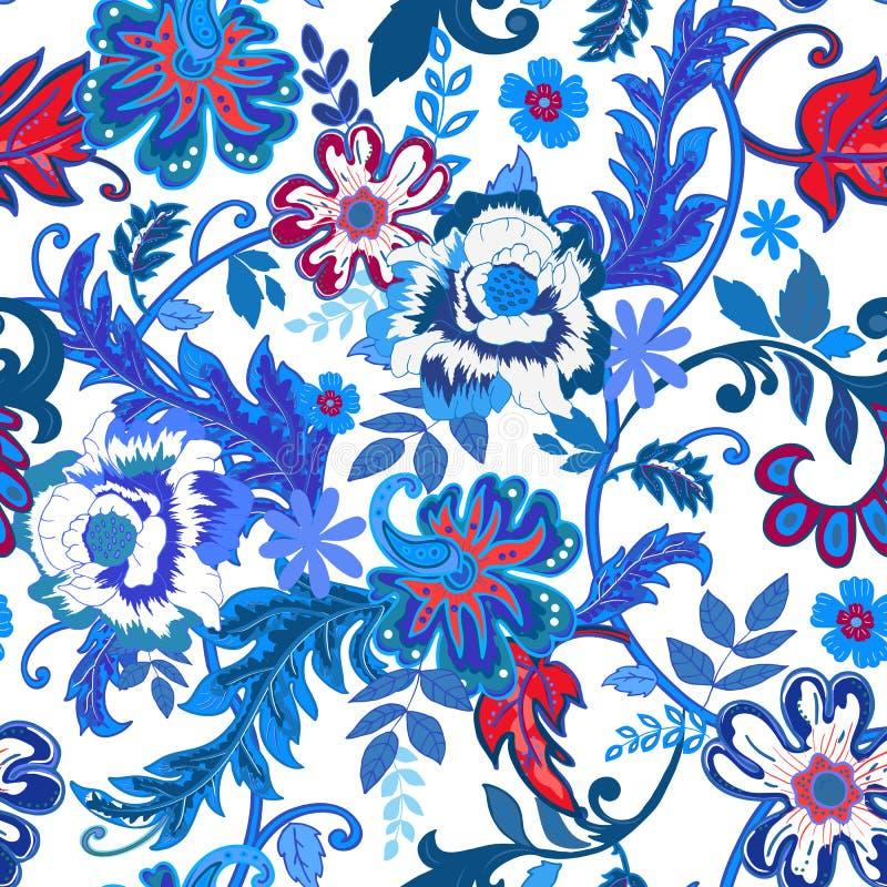 floral άνευ ραφής ανασκόπησης Ζωηρόχρωμο κόκκινο και απομονωμένο μπλε λουλούδι ελεύθερη απεικόνιση δικαιώματος