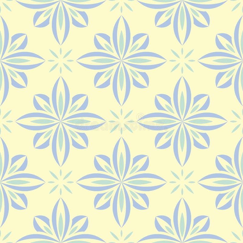 floral άνευ ραφής ανασκόπησης Μπλε και πράσινο σχέδιο λουλουδιών στο μπεζ σκηνικό ελεύθερη απεικόνιση δικαιώματος
