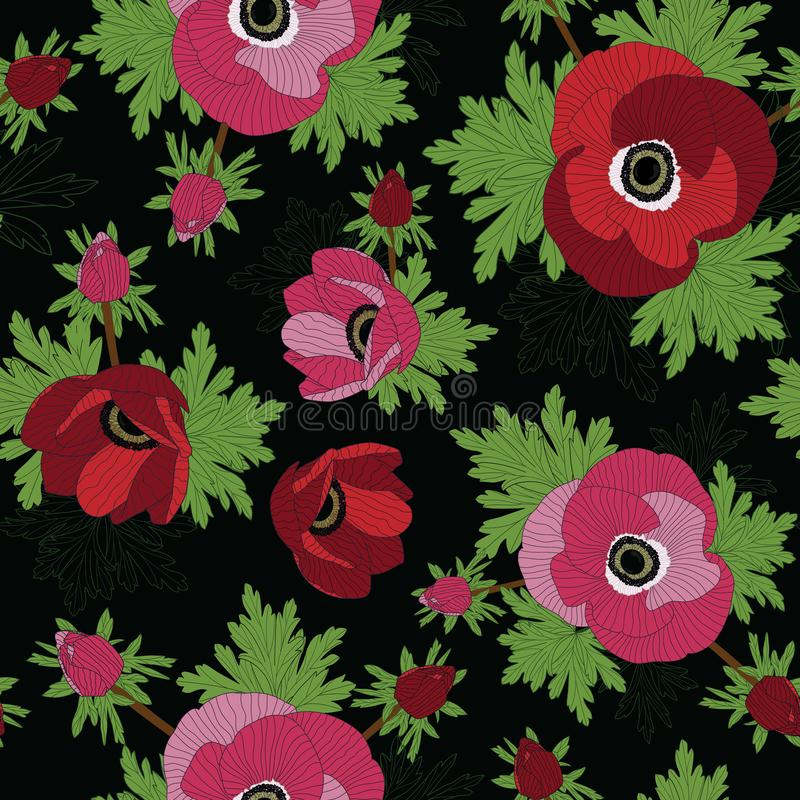 Floral άνευ ραφής διανυσματικό σχέδιο με τα όμορφα κόκκινα και ρόδινα λουλούδια anemone διανυσματική απεικόνιση