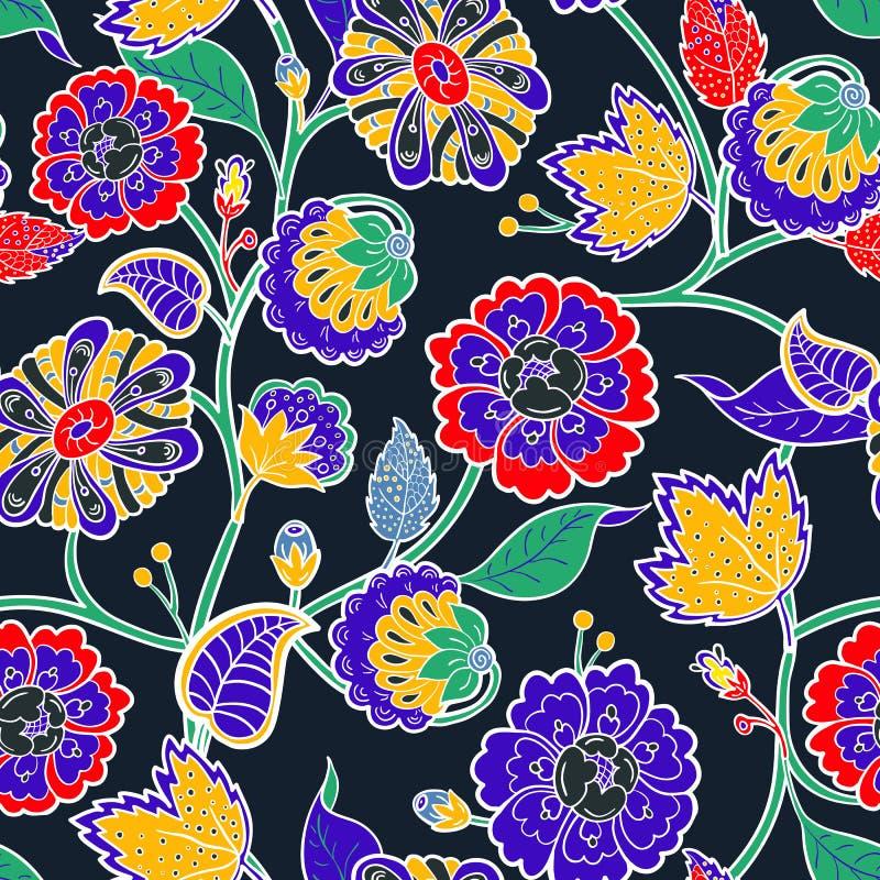 floral άνευ ραφής διάνυσμα ανασ& Ζωηρόχρωμα απομονωμένα λουλούδια ελεύθερη απεικόνιση δικαιώματος