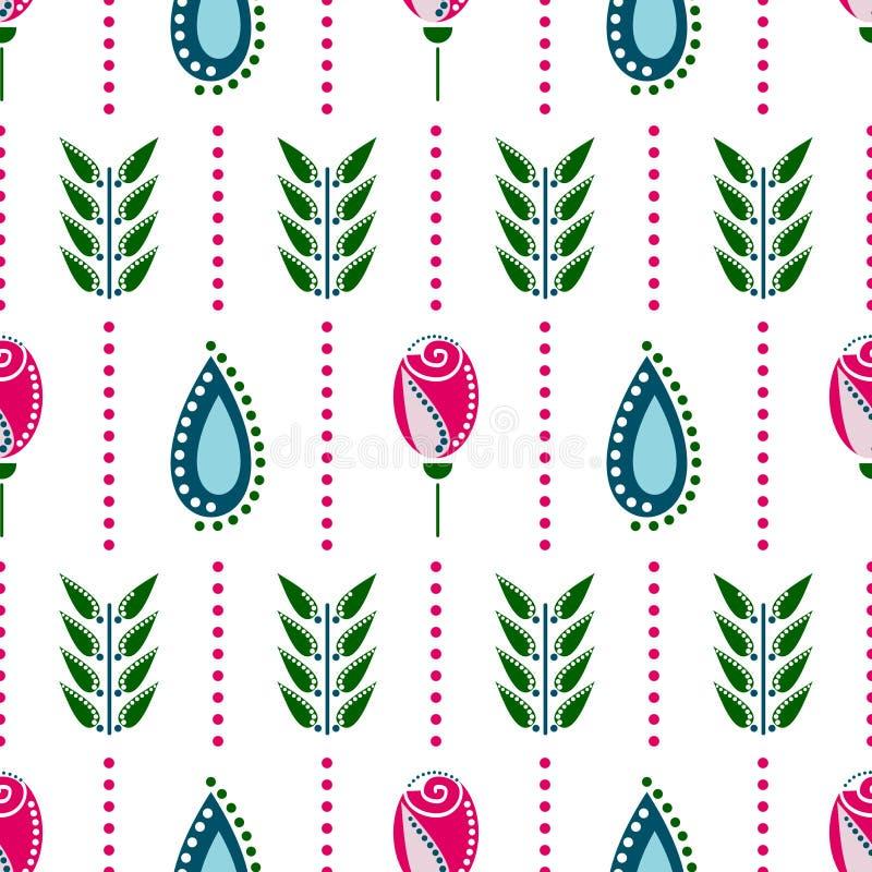 floral άνευ ραφής διάνυσμα προτύ&p Ζωηρόχρωμο διακοσμητικό υπόβαθρο Symmetrcal με τα λουλούδια Διακοσμητική διακόσμηση επανάληψης διανυσματική απεικόνιση
