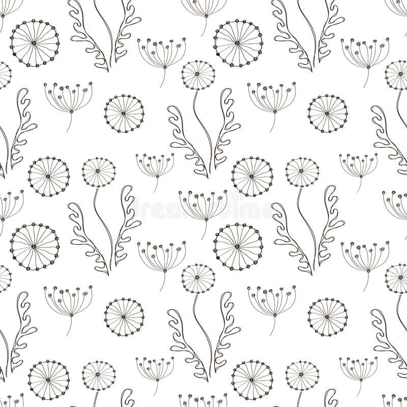floral άνευ ραφής διανυσματική ταπετσαρία προτύπων Γραπτό συρμένο χέρι υπόβαθρο με τα διαφορετικά λουλούδια και τα φύλλα ελεύθερη απεικόνιση δικαιώματος