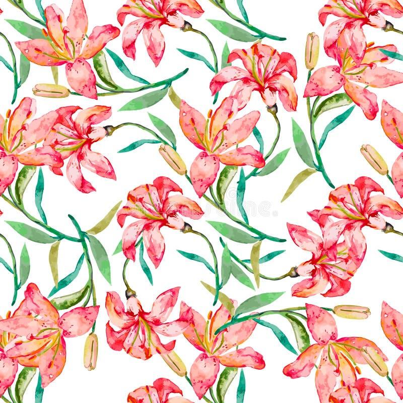 floral άνευ ραφής διανυσματική ταπετσαρία προτύπων Λουλούδια κρίνων διανυσματική απεικόνιση