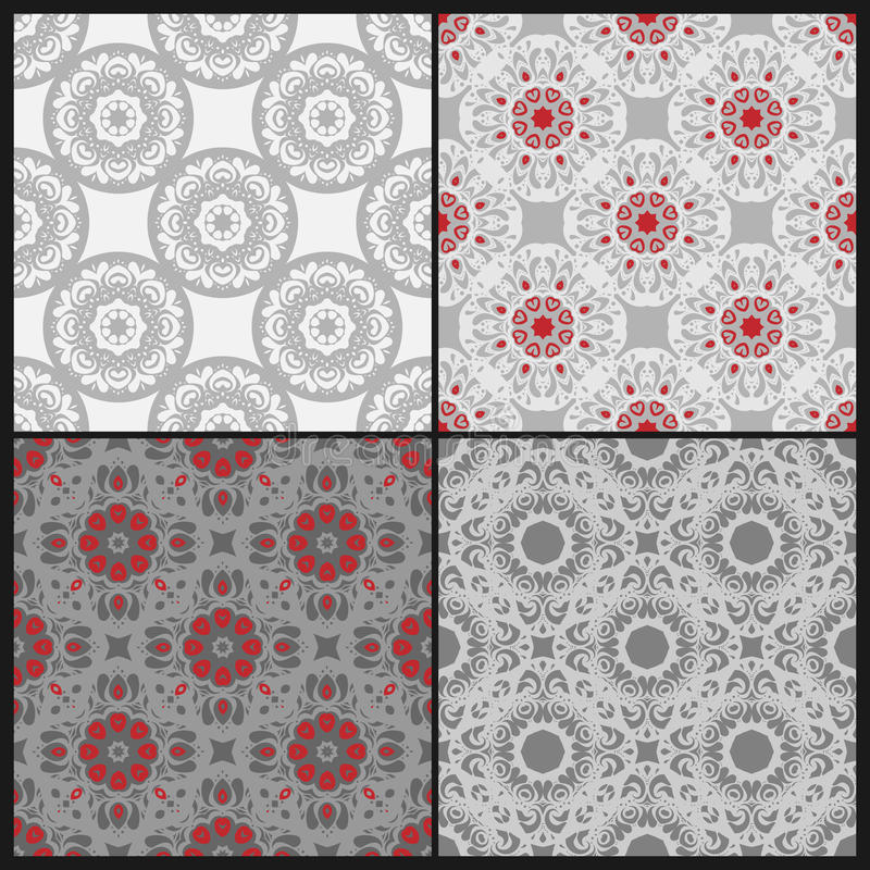 Floral άνευ ραφής διανυσματικό σύνολο διανυσματική απεικόνιση