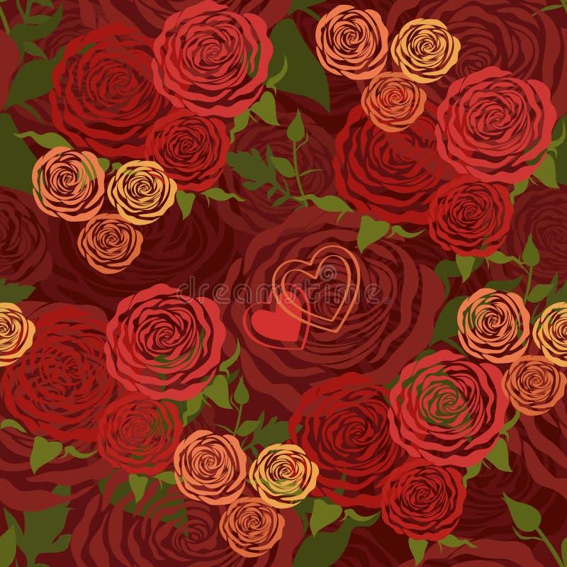 Floral άνευ ραφής πρότυπο με τα τριαντάφυλλα λουλουδιών διανυσματική απεικόνιση