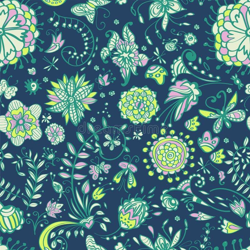 Floral άνευ ραφής πρότυπο χρώματος διανυσματική απεικόνιση