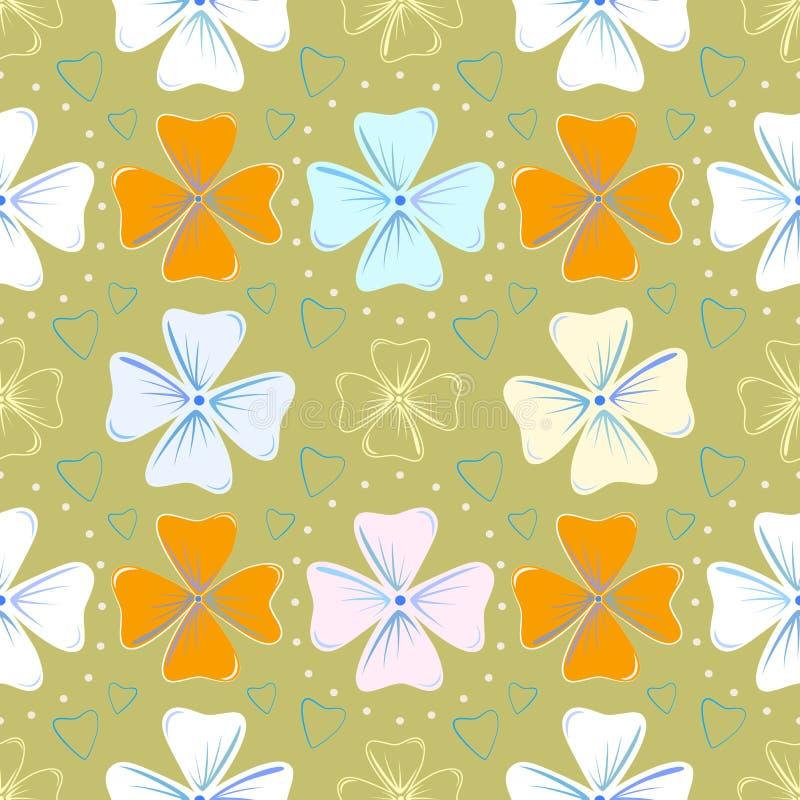 Floral άνευ ραφής σχέδιο για τα γενέθλια ή το γάμο ευγενή και όμορφα λουλούδια και μικρές καρδιές διάνυσμα διανυσματική απεικόνιση