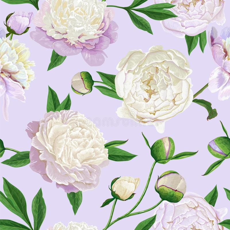 Floral άνευ ραφής σχέδιο με άσπρο Peonies Ανθίζοντας υπόβαθρο λουλουδιών άνοιξη για το ύφασμα, τυπωμένες ύλες, γαμήλια πρόσκληση διανυσματική απεικόνιση
