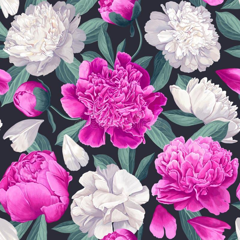 Floral άνευ ραφής σχέδιο με τα άσπρα και ρόδινα peonies στο σκοτεινό υπόβαθρο διανυσματική απεικόνιση