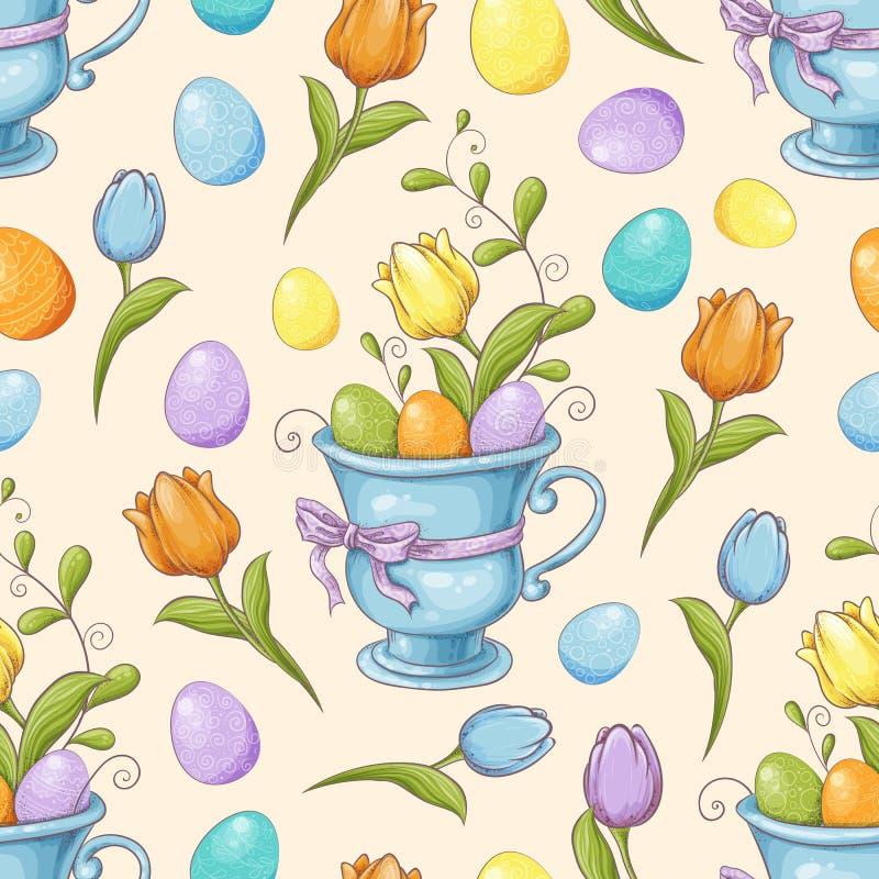 Floral άνευ ραφής σχέδιο με τα αυγά και τα τυποποιημένα λουλούδια Ατελείωτη σύσταση για το σχέδιο άνοιξη, διακόσμηση, ευχετήριες  ελεύθερη απεικόνιση δικαιώματος