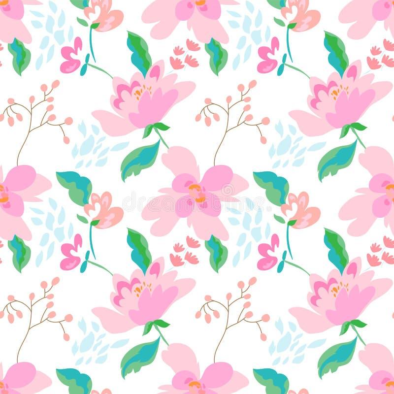 Floral άνευ ραφής σχέδιο με τα αφηρημένα λουλούδια και τα φύλλα ελεύθερη απεικόνιση δικαιώματος