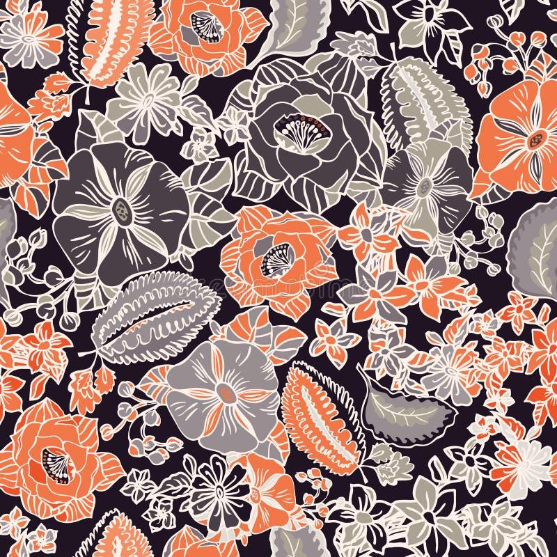 Floral άνευ ραφής σχέδιο με τα αφηρημένες φύλλα, τα λουλούδια, την πετούνια και τις μαργαρίτες απεικόνιση αποθεμάτων