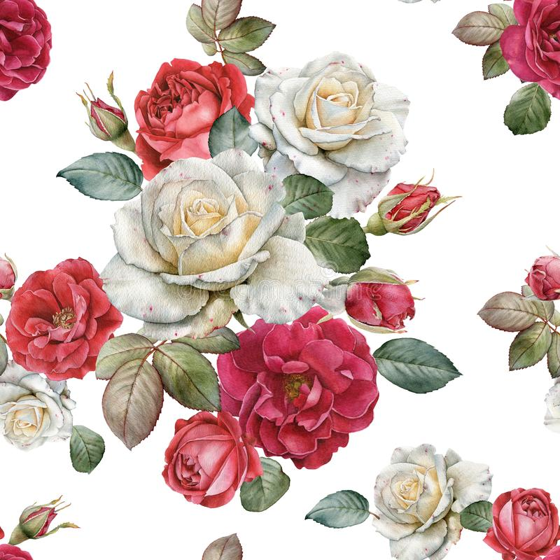 Floral άνευ ραφής σχέδιο με τα τριαντάφυλλα και τα φύλλα watercolor διανυσματική απεικόνιση