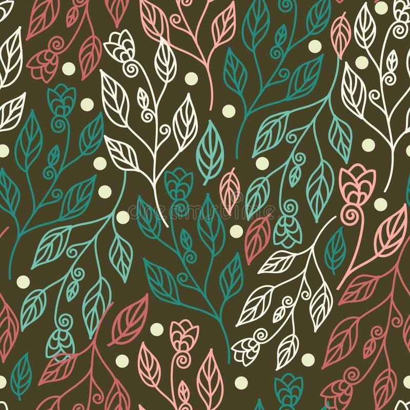 Floral άνευ ραφής σχέδιο με τα φύλλα και τα όμορφα λουλούδια Διανυσματική απεικόνιση στο πράσινο υπόβαθρο απεικόνιση αποθεμάτων
