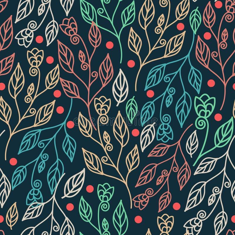 Floral άνευ ραφής σχέδιο με τα φύλλα και τα όμορφα λουλούδια Διανυσματικό ζωηρόχρωμο υπόβαθρο απεικόνισης απεικόνιση αποθεμάτων