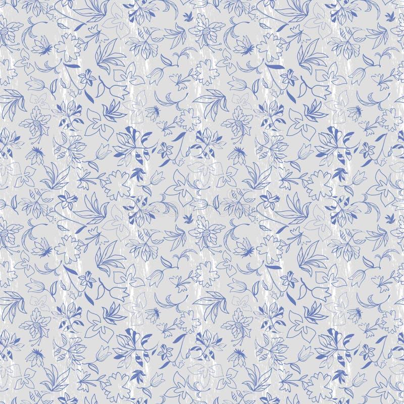 Floral άνευ ραφής σχέδιο με τα φύλλα, λουλούδια, τουλίπες, ίριδες, φυτά διανυσματική απεικόνιση