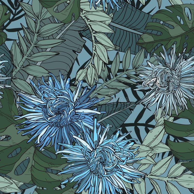 Floral άνευ ραφής σχέδιο με τα όμορφες μπλε λουλούδια και τις εγκαταστάσεις αστέρων ελεύθερη απεικόνιση δικαιώματος