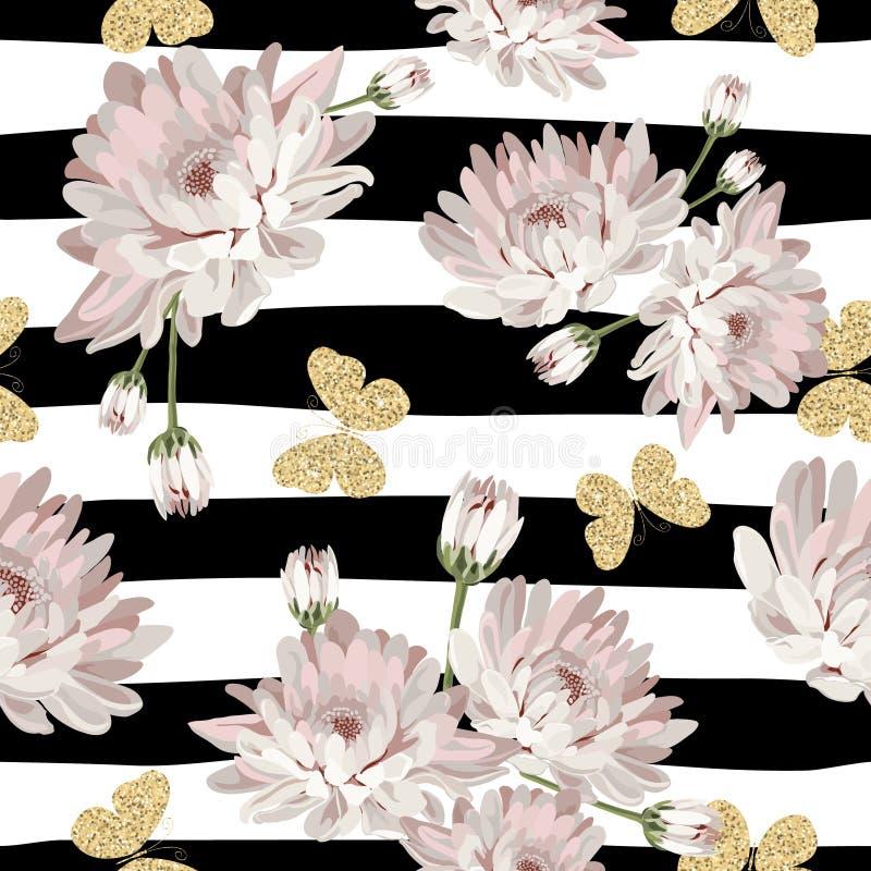 Floral άνευ ραφής σχέδιο με τις ακτινοβολώντας πεταλούδες ελεύθερη απεικόνιση δικαιώματος